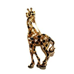 Swarovski Crystal Gold-plated Giraffe Brooch Pin
